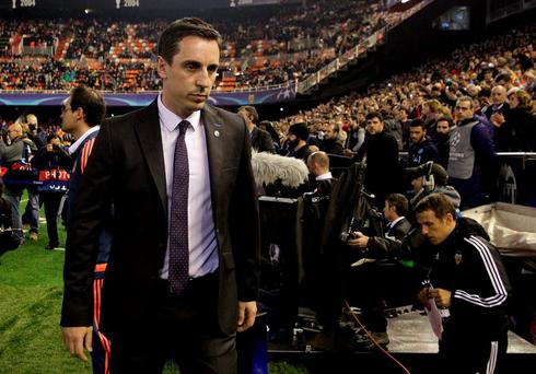 Valencia's new coach Gary Neville before the match. REUTERS/Heino Kalis