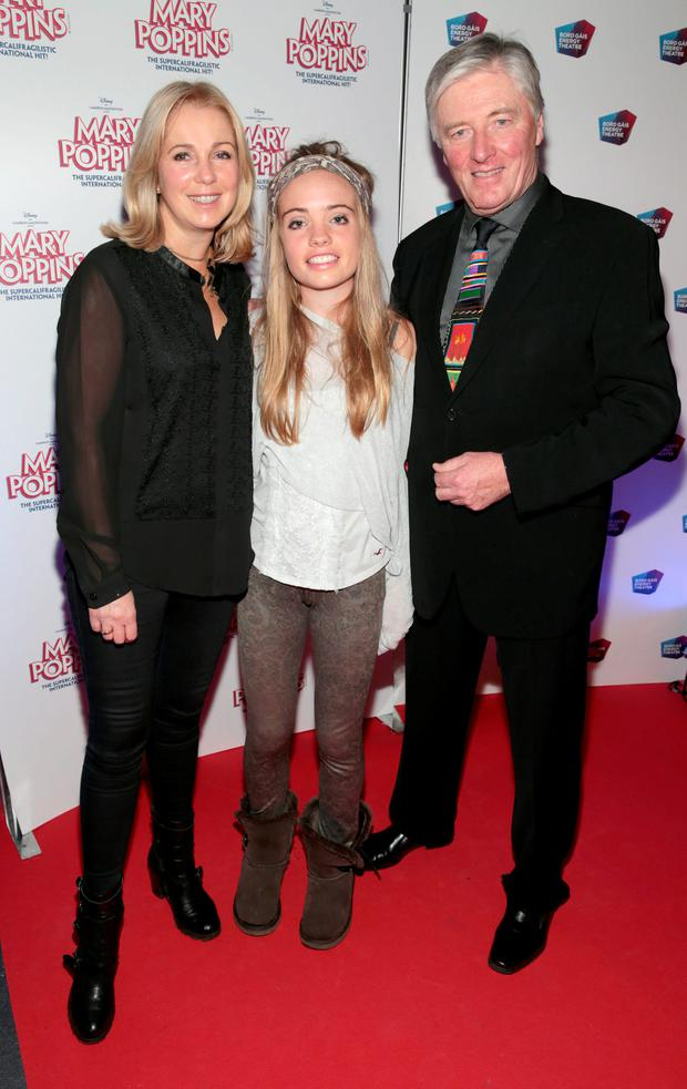 Pat Kenny and Kathy Kenny with daughter Nicole Kenny at the red carpet opening night of Mary Poppins at The Bord Gais Energy Theatre Dublin. Picture: Brian McEvoy