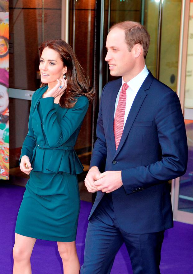 The Duke and Duchess of Cambridge leave ICAP's London office after attending the firm's 23rd annual charity day