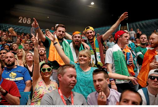 Irish UFC fans during the weighs in ahead of the fight between Conor McGregor and Chad Mendes at the MGM Grand Garden Arena in July
