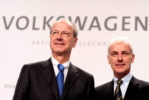Hans Dieter Poetsch (L), Chairman of the Supervisory Board of Volkswagen AG, and Volkswagen Group Chairman Matthias Mueller (R), arrive to the press conference to announce the latest update in the company's handling of the engine emissions scandal Credit: Carsten Koall (Getty Images)