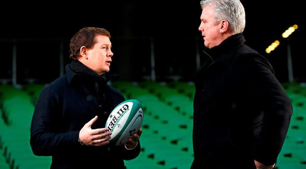 Paul Wallace and Victor Costello chat at the Aviva Stadium yesterday