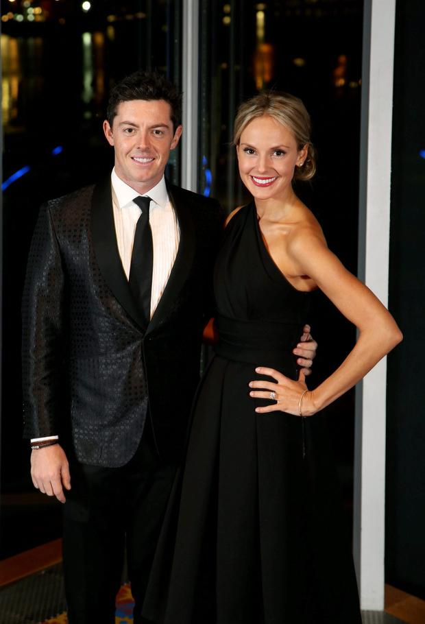 Rory McIlroy with his fiancee Erica Stoll at the a fundraiser for The Paddy Wallace Fund in Belfast on Thursday. Photo: Darren Kidd / Press Eye.