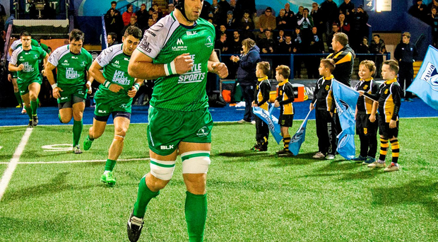 John Muldoon leads his team-mates out on his 200th appearance for the province last weekend on to Cardiff Arms Park's 4g pitch, a surface the Connacht skipper finds hard on his joints