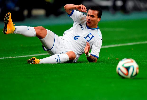 Honduras' midfielder Arnold Peralta during a friendly football match against Japan in 2014. Photo: AFP/Getty Images