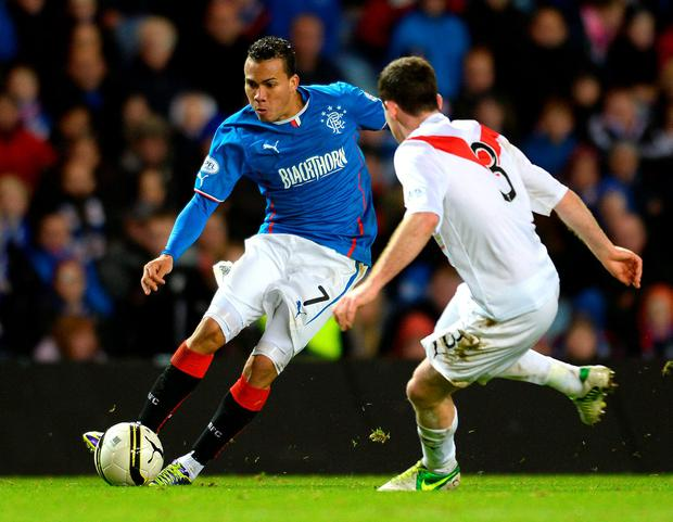 Arnold Peralta in action for Rangers against Airdrieonians during the The William Hill Scottish Cup Third Round match at Ibrox Stadium in 2013. Photo: Getty Images