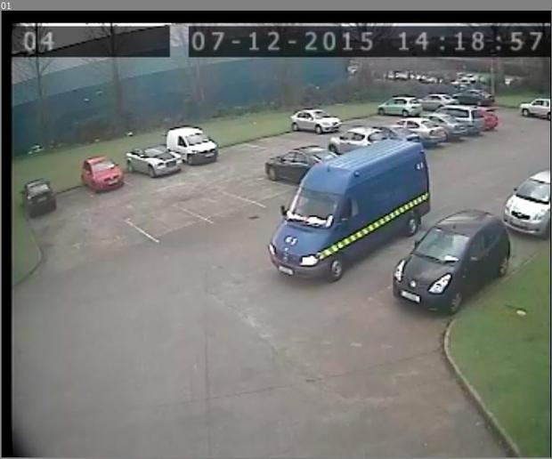 CCTV from the robbery at a Clondalkin buisness premises using a fake cash-in-transit van