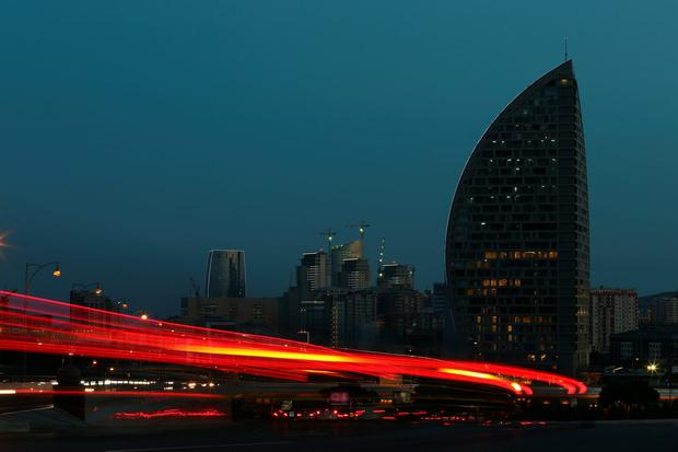 BAKU, AZERBAIJAN - JUNE 09: A general view of the Trump Tower at dusk in June 2015. Photo by Michael Steele/Getty Images for BEGOC