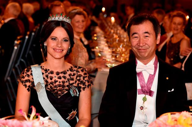 Princess Sofia of Sweden and Nobel Prize in Physics, Professor Takaaki Kajita attend the Nobel Prize Banquet 2015 at City Hall on December 10, 2015 in Stockholm, Sweden. (Photo by Pascal Le Segretain/Getty Images)