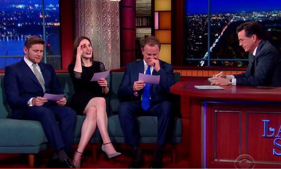 Allen Leech, Michelle Dockery and Hugh Bonneville on The Late Show with Stephen Colbert