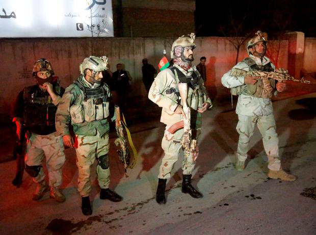 A loud explosion rocked Kabul on Friday in a heavily protected area close to many foreign embassies and government buildings, with initial police reports suggesting at least three attackers had targeted a guesthouse close to the Spanish embassy Credit: Omar Sobhani (REUTERS)