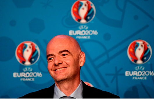 UEFA General Secretary Gianni Infantino during a press conference on Friday. David Maher / SPORTSFILE