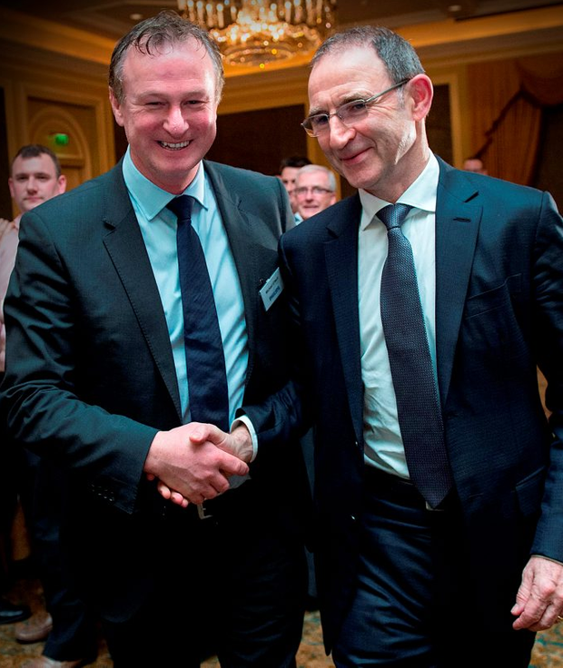 Northern Ireland boss Michael O'Neill and Republic of Ireland manager Martin O'Neill