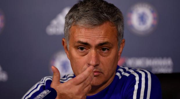 Jose Mourinho at a press conference in Cobham yesterday
