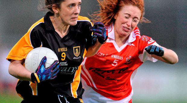 Mourneabbey's Ciara O'Sullivan against Joanne Geoghegan of Donaghmoyne in the All-Ireland Ladies Senior Club Championship final