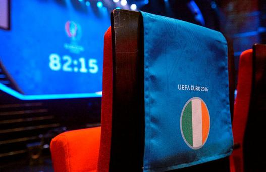 General view of the Republic of Ireland seating before the start of the UEFA EURO Final Tournament Draw. Le Palais des Congrès de Paris, Paris, France. Picture credit: David Maher / SPORTSFILE