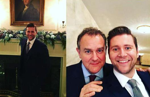 Allen Leech with his co-star Hugh Bonneville at The White House