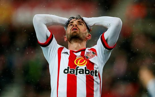 Sunderland's Fabio Borini reacts after a missed chance during the Barclays Premier League match at the Stadium of Light