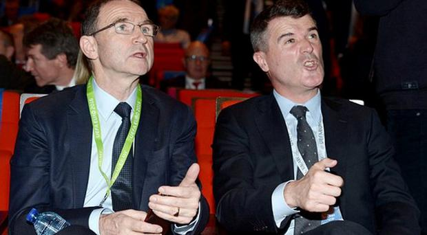 Martin O'Neill and Roy Keane at the draw