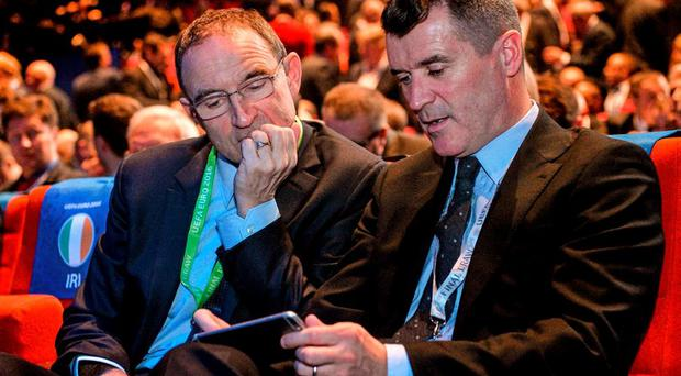 Republic of Ireland manager Martin O'Neill with assistant manager Roy Keane. UEFA EURO Final Tournament Draw. Le Palais des Congrès de Paris, Paris, France. Picture credit: David Maher / SPORTSFILE