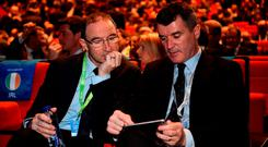 Martin O'Neill and Roy Keane at last night's draw