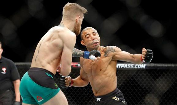 Conor McGregor lands the pivotal punch on Jose Aldo's jaw