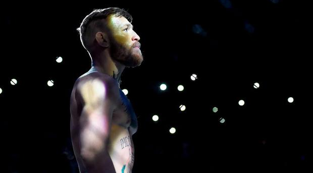 Conor McGregor ahead of his featherweigh bout against Jose Aldo. UFC 194: Jose Aldo v Conor McGregor, MGM Grand Garden Arena, Las Vegas, USA. Picture credit: Ramsey Cardy / SPORTSFILE