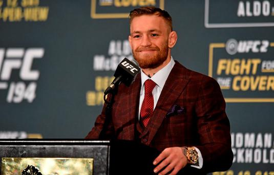 UFC featherweight champion Conor McGregor during a post-fight press conference. UFC 194: Jose Aldo v Conor McGregor, MGM Grand Garden Arena, Las Vegas, USA. Picture credit: Ramsey Cardy / SPORTSFILE