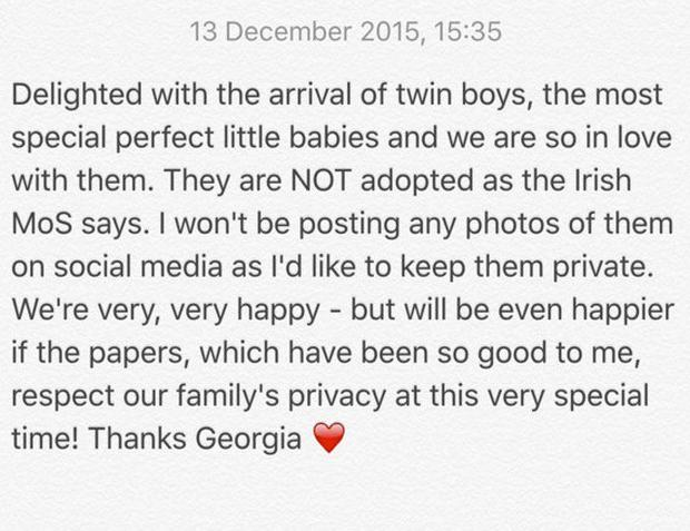 Georgia Salpa took to Twitter this morning to announce the arrival of her twins. Photo: Twitter @GeorgiaPenna