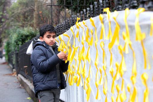 Ibrahims Nephew Khallad Ab U Hemid (6) outside the Egyptian Embassy,Dublin for a vigil for Ibrahim Halawa who