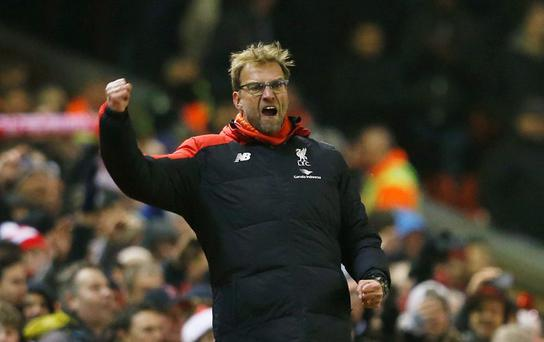 Liverpool manager Juergen Klopp celebrates after Divock Origi (not pictured) scores their late equaliser
