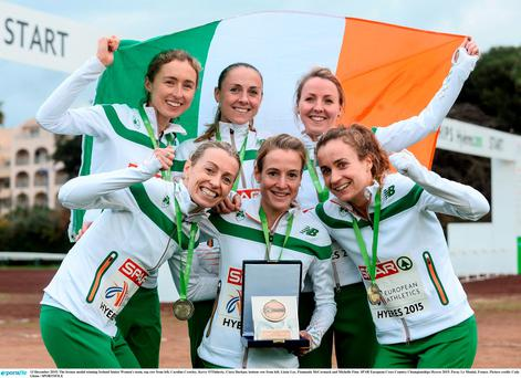 The bronze medal winning Ireland Senior Women's team, top row from left, Caroline Crowley, Kerry O'Flaherty, Ciara Durkan; bottom row from left, Lizzie Lee, Fionnuala McCormack and Michelle Finn. SPAR European Cross Country Championships Hyeres 2015. Paray Le Monial, France. Picture credit: Cody Glenn / SPORTSFILE