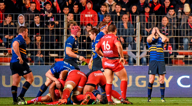 Jonathan Sexton reacts as Toulon were awarded a penalty