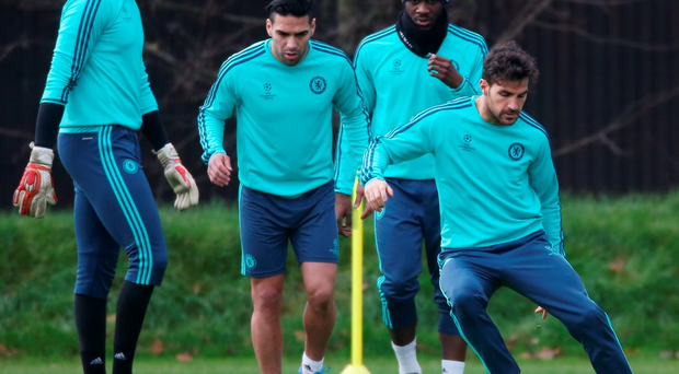 Cesc Fabregas goes through his paces in training ahead of tonight's Premier League clash against Leicester