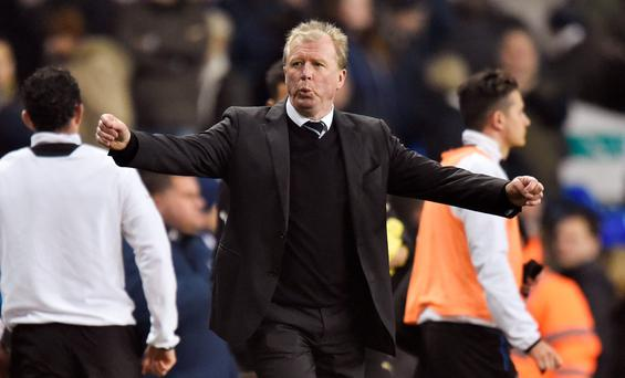 Newcastle United manager Steve McClaren celebrates after the game