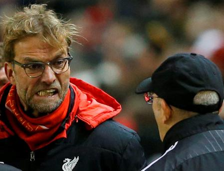 Jurgen Klopp eye-balls Tony Pulis after Liverpool's late equaliser