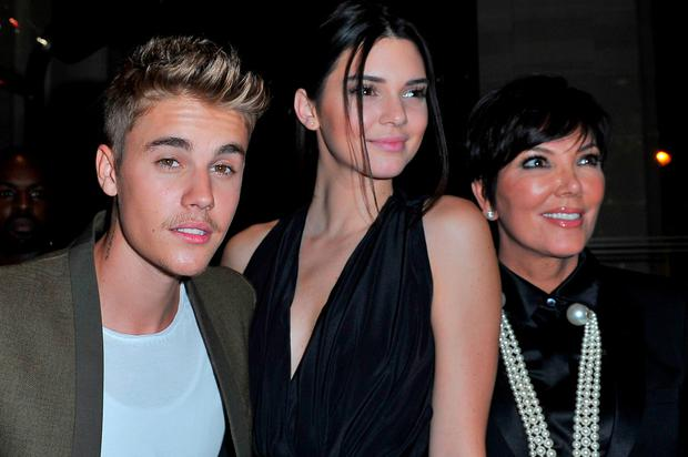 (L-R) Justin Bieber, Kendall Jenner and Kris Jenner attend the CR Fashion Book Issue No.5 Launch Party hosted by Carine Roitfeld and Stephen Gan at The Peninsula Paris on September 30, 2014 in Paris, France. (Photo by Kristy Sparow/WireImage)