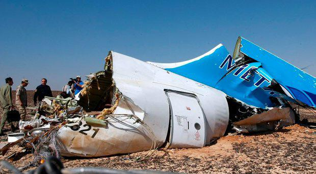 The wreckage of the Russian jet brought down in Egypt's Sinai Peninsula by a suspected Isis bomb
