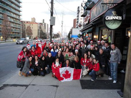 Cathal Mcgee: Christmas 2011 when the Toronto Hurling and Camogie clubs took over Yonge and Eglington Street for a full Saturday Christmas Pub Crawl. About 60 Irish people and their friends all in Christmas Jumpers parading around the town.'