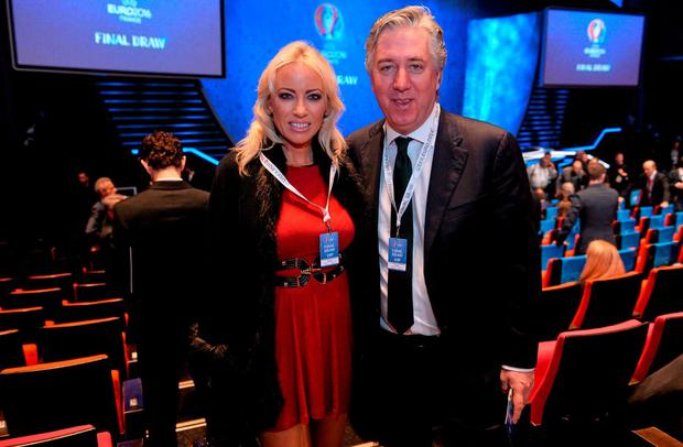 FAI Chief Executive John Delaney with Emma English before the start of the UEFA EURO Final Tournament Draw. Picture: David Maher / SPORTSFILE