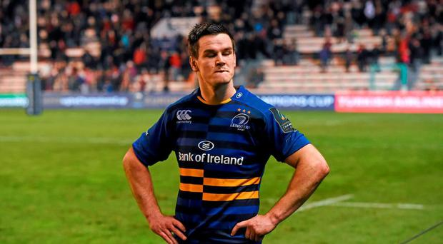 A dejected Jonathan Sexton following Leinsters' defeat to Toulon at the Stade Felix Mayol. Picture credit: Stephen McCarthy / SPORTSFILE