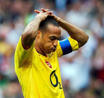 Thierry Henry shows his disappointment during Arsenal's Champions League final defeat to Barcelona in 2006