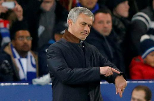 Chelsea manager Jose Mourinho looks dejected during the defeat to Leicester Action Images via Reuters / Carl Recine