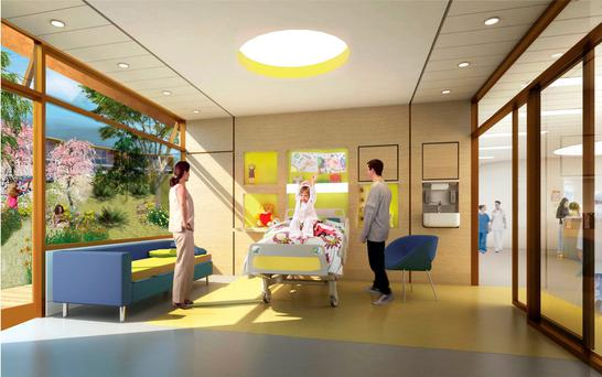 An artist's impression of a room in the new National Children's Hospital