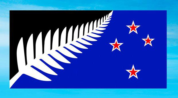 This undated illustration provided by the New Zealand Government shows a flag design; Silver Fern (Black, White and Blue) by Kyle Lockwood. Final results from a postal ballot were announced Tuesday, Dec. 15, 2015