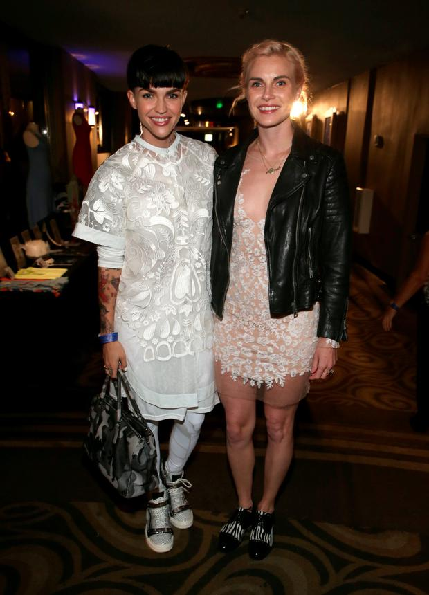 Model/actress Ruby Rose (L) and designer Phoebe Dahl attend An Evening with Women benefiting the Los Angeles LGBT Center at the Hollywood Palladium on May 16, 2015 in Los Angeles, California. (Photo by Jonathan Leibson/Getty Images for LOS ANGELES LGBT CENTER)