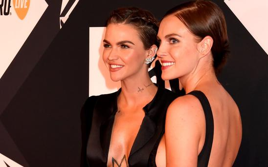 Ruby Rose and Phoebe Dahl attend the MTV EMA's 2015 at Mediolanum Forum on October 25, 2015 in Milan, Italy. (Photo by Jeff Kravitz/FilmMagic)