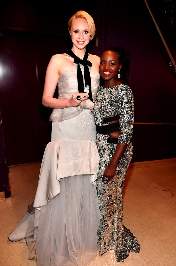 Actors Gwendoline Christie (L) and Lupita Nyong'o attend the World Premiere of Star Wars: The Force Awakens at the Dolby, El Capitan,