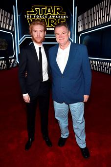 HOLLYWOOD, CA - DECEMBER 14: Actors Domhnall Gleeson (L) and his father Brendan Gleeson attend the World Premiere of Star Wars: The Force Awakens at the Dolby, El Capitan, and TCL Theatres on December 14, 2015 in Hollywood, California. (Photo by Alberto E. Rodriguez/Getty Images for Disney)