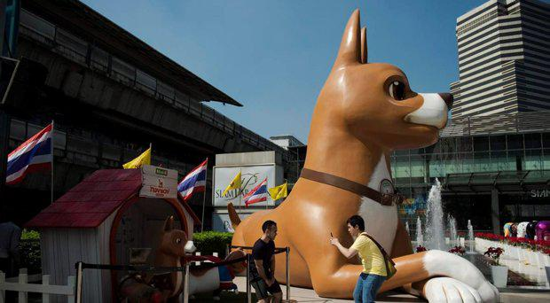 Men pose next to a 10-metre high dog statue, part of the promotional effort for a hit film based on Tongdaeng's life